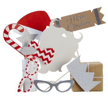 Christmas Photo Booth Kit - 10 Christmas Party Photo Props